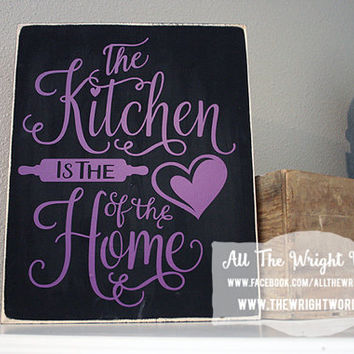 "12x14"" Heart Of The Home Wood Sign"