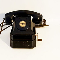Antique Telephone Black Stromberg-Carlson Crank Telephone Farmers Telephone Black Bakelite Telephone Pre WWII Telephone Hand Cranked Bell
