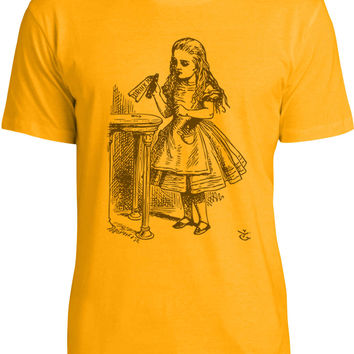 Alice in Wonderland - Drink Me (Brown) Mens Fine Jersey T-Shirt