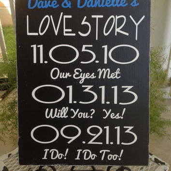 LOVE STORY Date Sign, Wedding Date sign, Bridal Shower Gift , Engagement gift, New Couple gift, Special Dates