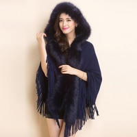 New Winter Womens Fashion Fake Fox Fur Collar Cashmere Sweater Women Long Thick Knitted Cardigan Capes And Poncho WCDCP611003