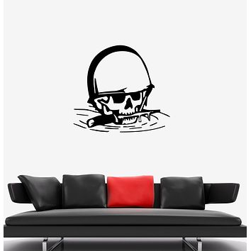 Wall Decal Skull Soldier War Skeleton Knife Death Vinyl Sticker (ed1350)