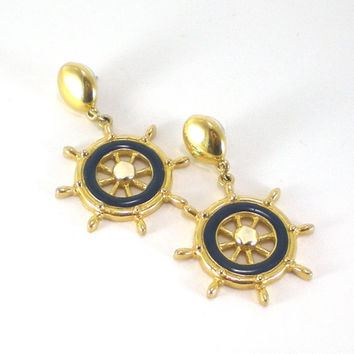 Vintage Gold Blue Enamel Nautical Ship Wheel Avon Pierced Dangle Summer Retro Earrings
