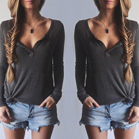 Long-Sleeve V-Neck Shirt