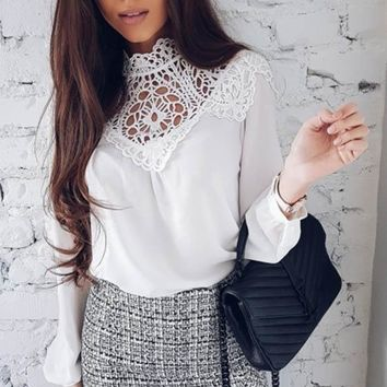 High Collar Lace Hollow Out Spring Blouse