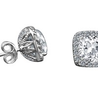 2CT. TW Radiant Cushion square diamond simulant - Diamond Veneer Halo style post earrings,  635E15689