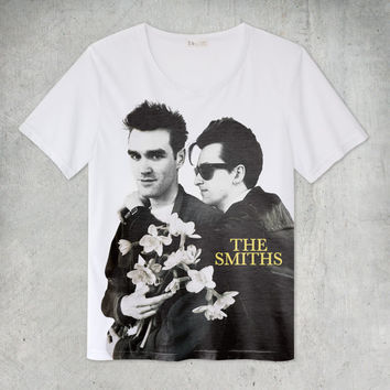 The Smiths Morrissey and Johnny Marr White T-Shirt Size S M L