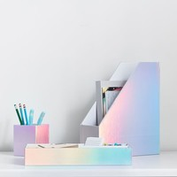 Paper Desk Accessories, Set of 3, Iridescent