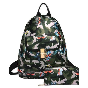 New Women Lovely Floral Print Fashion Oxford Backpack School Bag Teenager Girls Composite Bags for Travel Mochila Small Pack Sac