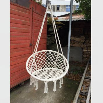 Dove White Hanging Round Hammock Chair