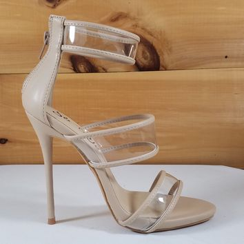 "Gab 3 Strap Lucite Nude - 5"" High Heel Single Sole Shoes"