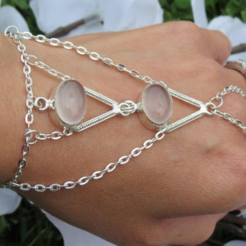 Rose Quartz Slave Bracelet, Ring Bracelet, Gemstone Bracelet, Silver plated, Silver Overlay Stone Settings, Custom Sized, Hippie, Bracelet
