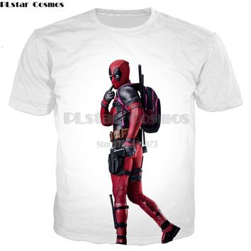 Men's 3d Funny Deadpool and Iron Man Printed Casual Cool Tee shirts