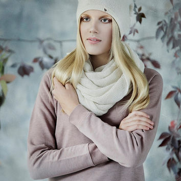 Ombre woman slouchy hat / adult / alpaca wool white pink beanie / pale rose over-sized hat /  knit unisex hat