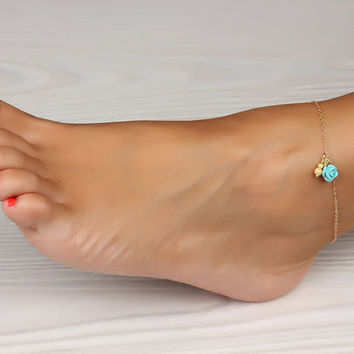 """Rose gold anklet, Turquoise anklet, gold ankle bracelet, rose bracelet, wedding, turquoise bracelet, bridal, best friend anklet, """"Aigle"""""""