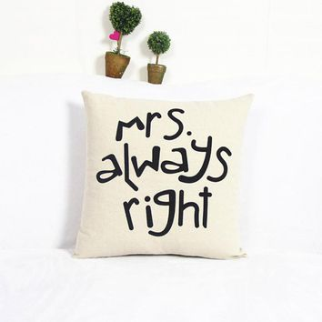 High Quality Luxury Brand New Home Cotton Linen Mr/Mrs Pillow Case Waist Throw Home Pillow