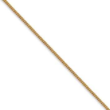 0.9mm, 14k Yellow Gold, Solid Franco Chain Necklace