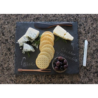 Multiple Servings 5 Piece Gift Set - Heirloom Black Slate Cheese Board Serving Platter | Includes Handcrafted Utensils, Storage Bag + Chalk | 4 Colors