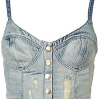 MOTO Denim Bralet - Tops  - Apparel  - Topshop USA