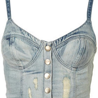 MOTO Denim Bralet - Denim  - Clothing