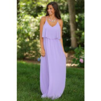 EVERLY:Frankly, My Dear Maxi Dress-Lavender