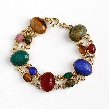 Vintage 14k Yellow Gold Filled Scarab Bracelet - Retro Large Egyptian Revival Tiger's Eye Carnelian Beetle Bug Gem Statement WRE Jewelry