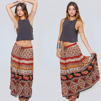 Vintage 90s INDIAN Maxi Skirt Long CRINKLE Skirt Boho Ethnic ELEPHANT Print Festival Skirt