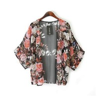 ABC(TM) Women Retro Floral Loose Shawl Kimono Boho Chiffon Coat Jacket