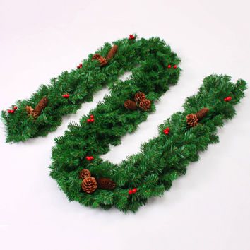 New Luxury 270 cm x 25 cm Thick Christmas Garland with Red berries Holly Cones Pine Tree Indoor Home Christmas Decoration R089