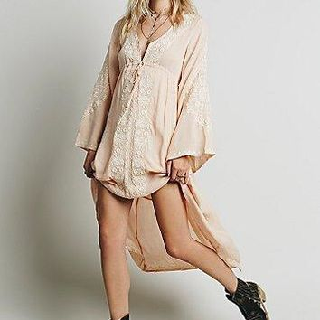 """Free People"" Fashion Ethnic Embroidery Deep V-Neck Loose Long Sleeve Irregular Maxi Dress"