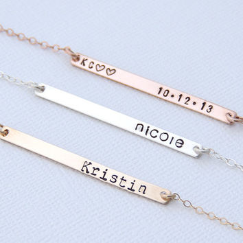 Long Skinny Bar Necklace. Gold Name Plate Necklace. Personalized Silver Bar Necklace.  Monogram Rose Gold Name Bar. Wedding Date Bar Gift
