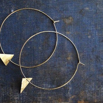 Golden Brass Hoops with Triangle Accent by sdmariejewelry on Etsy