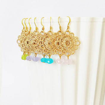 16KT Gold Lace Earrings - Gemstone Dangle Earrings - Boho Chic Earrings - Gold Filigree Earrings - Bohemian Jewelry