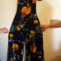 Vintage Frederick's of Hollywood Jumpsuit Navy With Floral Pattern Circa 1970s Bell Bottom Disco Cool