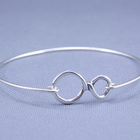 infinity Silver Bracelet ,constellation Charm Bangle,Silver Jewelry ,Custom Gift for Women (2pcs)