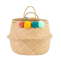 Pom Pom Basket Teal, Pink, Yellow, And Mint