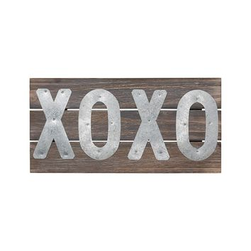 Galvanized Metal XOXO Wooden Pallet Sign - 12-in