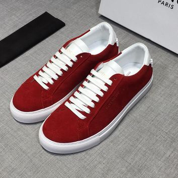 Givenchy Men Suede White Red Low Sneakers - Best Deal Online
