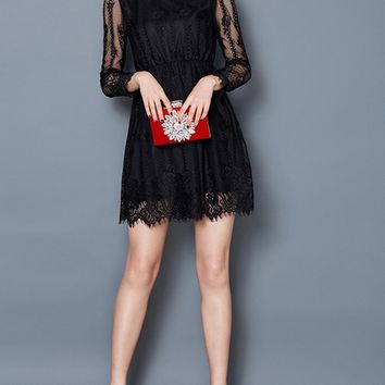 Casual Hollow Out Solid Lace Skater Dress
