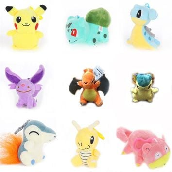 lovely Keychain Charizard pikachu Bulbasaur Lapras Slowpoke plush toys for friend kid gift Anime soft