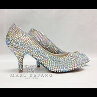 Fine leather Fully crystalized 3 inches Peep toe Pumps by MDNY