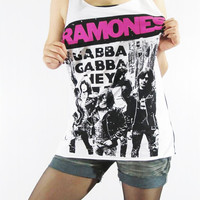 RAMONES Pinhead Gabba Gabba Hey Punk Design Shirt Women Tank Top White Tunic Top T-Shirt Sleeveless Singlet Vest Women Rock T-Shirt Size M