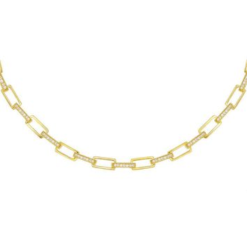 Chunky Pave Box Chain Necklace