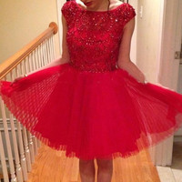 Gorgeous Sparkly Light Red Pretty Short Tulle Beading Homecoming Dresses K178