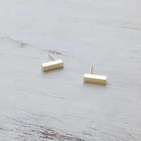 Gold filled stud bar earrings