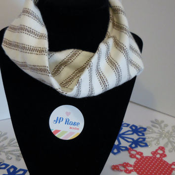 Scarf Bib Brown and White Stripe Flannel for Babies Size 12 months- 24 months