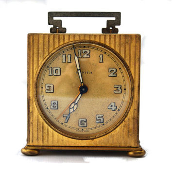 Antique Zenith Art Deco Travel Table Alarm Clock Vintage Miniature Boudoir Voyage Clock Swiss Clock
