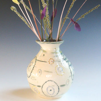 Hand-Painted Bud Vase, Small White Stoneware Vase - Blue, Green, Yellow, Red