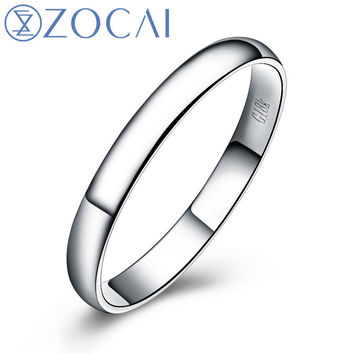 ZOCAI BRAND CHIC AN UNUSUAL DEMEANOR REAL SOLID 18K WHITE GOLD WOMEN'S AND MEN'S WEDDING BAND RING JEWELRY Q00069B