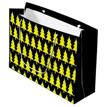 Funky Yellow Fir Christmas Tree Pattern Gift Bag